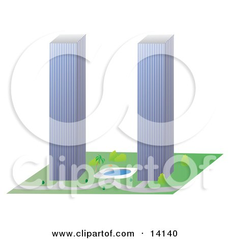 Two Tall Skyscrapers Similar to the Twin Towers of the World Trade Center Posters, Art Prints
