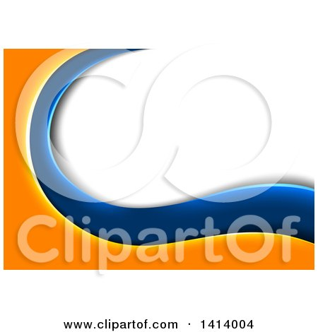 Clipart of a Background of Orange and Blue Waves Framing White and Gray Text Space - Royalty Free Vector Illustration by dero