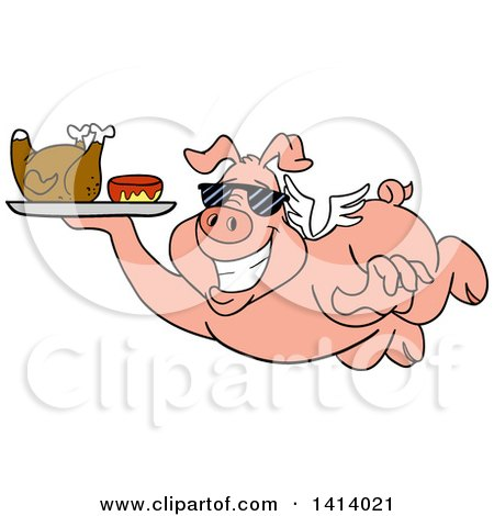 Clipart of a Cartoon Bbq Winged Pig Flying and Holding a Tray with Chicken and Sauce - Royalty Free Vector Illustration by LaffToon