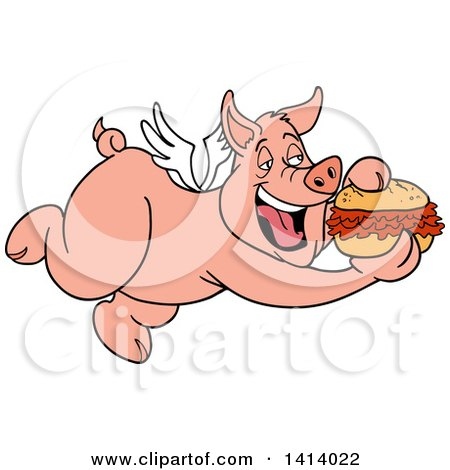 Clipart of a Cartoon Bbq Winged Pig Flying and Eating a Pulled Pork Sandwich - Royalty Free Vector Illustration by LaffToon
