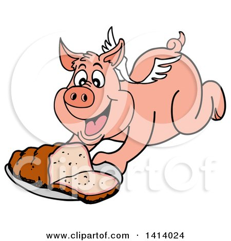 Clipart of a Cartoon Bbq Winged Pig Flying and Holding out a Brisket - Royalty Free Vector Illustration by LaffToon
