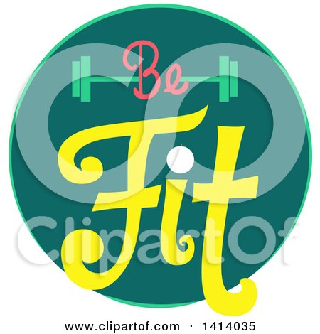 Clipart of a Be Fit Barbell Fitness Icon - Royalty Free Vector Illustration by BNP Design Studio