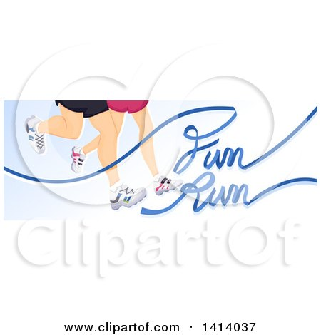 Clipart of a Pair of Runners Legs with Fun Run Text - Royalty Free Vector Illustration by BNP Design Studio
