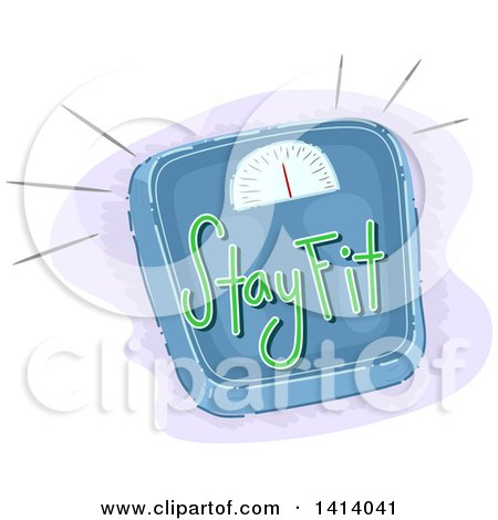 Clipart of a Body Weight Scale with Stay Fit Text - Royalty Free Vector Illustration by BNP Design Studio