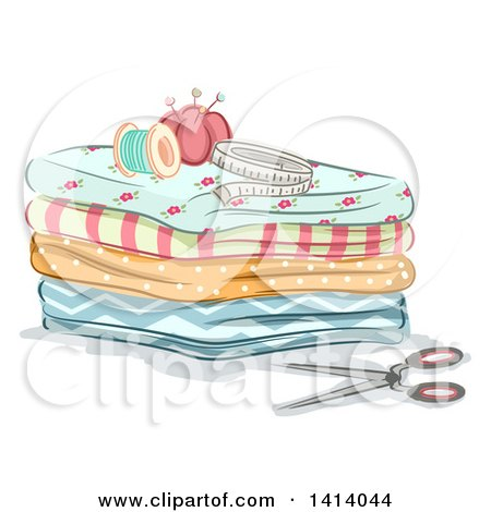 Clipart of Sewing Items on Top of Folded Fabric - Royalty Free Vector Illustration by BNP Design Studio