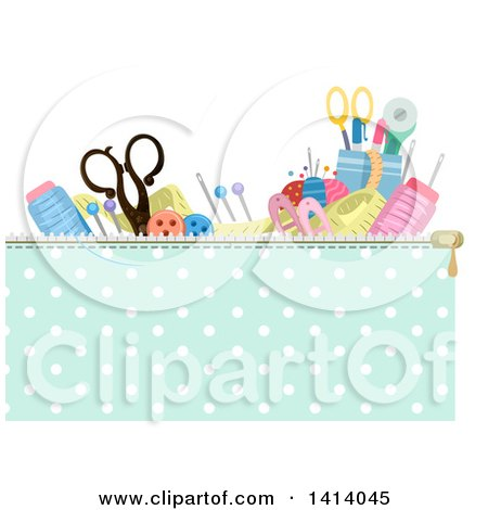 Clipart of a Header of Sewing Materials in a Zippered Bag - Royalty Free Vector Illustration by BNP Design Studio