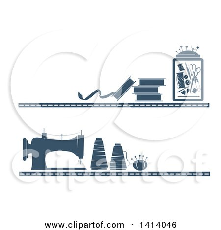 Clipart of Blue Borders of Sewing Items - Royalty Free Vector Illustration by BNP Design Studio