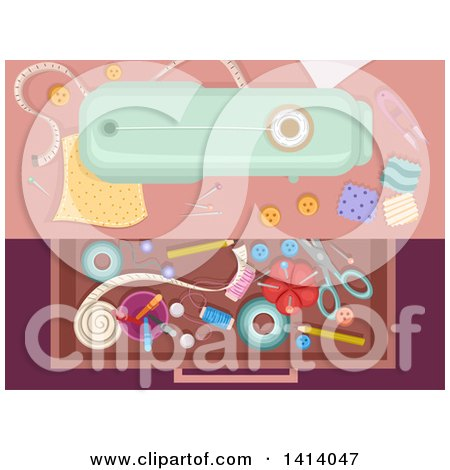 Clipart of a Drawer Full of Sewing Materials - Royalty Free Vector Illustration by BNP Design Studio