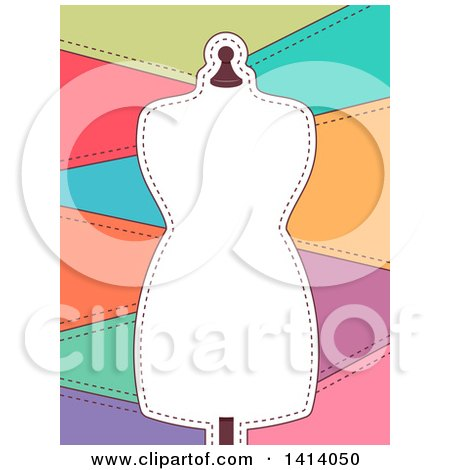 Clipart of a Frame of a Mannequin with Sewn Patches - Royalty Free Vector Illustration by BNP Design Studio