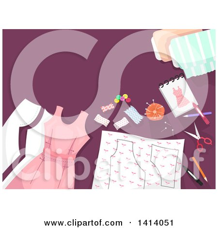 Clipart of a Border of Sewing Materials and a Dress on Purple - Royalty Free Vector Illustration by BNP Design Studio