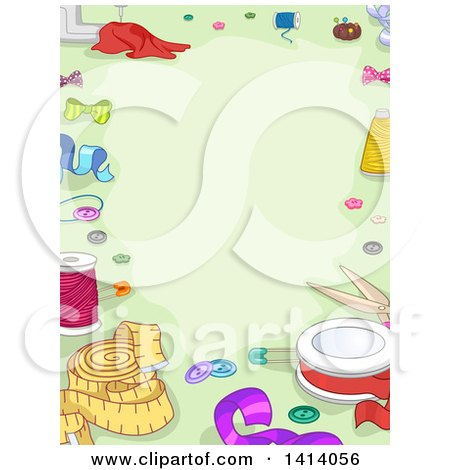 Clipart of a Border of Sewing Items on Green - Royalty Free Vector Illustration by BNP Design Studio