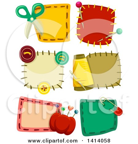 Clipart of Sewing Patch Designs - Royalty Free Vector Illustration by BNP Design Studio