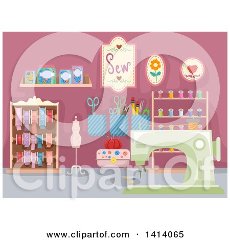 Clipart of a Hobby Sewing Room - Royalty Free Vector Illustration by BNP Design Studio