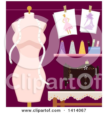 Clipart of a Mannequin and Sewing Machine with Fashion Design Materials - Royalty Free Vector Illustration by BNP Design Studio