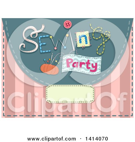 Clipart of a Sewing Party Invitation Design with Notions over Pink Stripes - Royalty Free Vector Illustration by BNP Design Studio