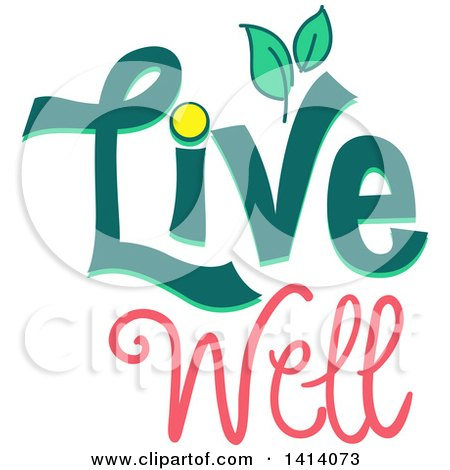 Clipart of a Live Well Design with Leaves - Royalty Free Vector Illustration by BNP Design Studio