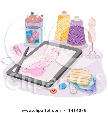 Clipart of a Sketch of a Dress on a Tablet Computer, Surrounded by Sewing Items - Royalty Free Vector Illustration by BNP Design Studio