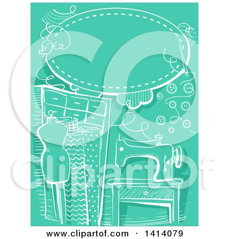 Clipart of a Sketched White Sewing Background on Green - Royalty Free Vector Illustration by BNP Design Studio