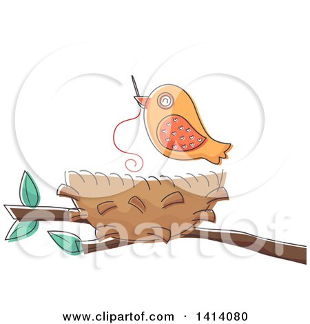 Clipart of a Bird Using a Needle to Sew His Nest - Royalty Free Vector Illustration by BNP Design Studio