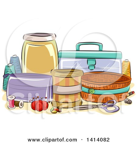 Clipart of a Sketched Still Life of Sewing Organization Containers - Royalty Free Vector Illustration by BNP Design Studio