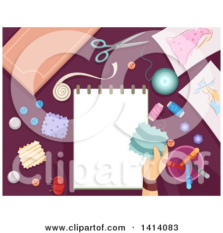 Clipart of a Hand Holding a Patch over a Sketch Pad, Surrounded by Sewing Items - Royalty Free Vector Illustration by BNP Design Studio