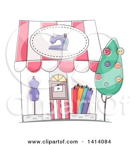 Clipart of a Sketched Dress Shop Store Front - Royalty Free Vector Illustration by BNP Design Studio