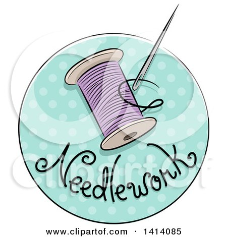 Clipart of a Sketched Needlework Icon with a Needle and Thread - Royalty Free Vector Illustration by BNP Design Studio