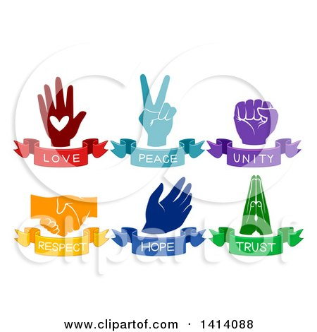 Clipart Of Love Peace Unity Respect Hope And Trust