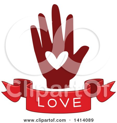Clipart of a Red Hand with a Love Text Banner - Royalty Free Vector Illustration by BNP Design Studio