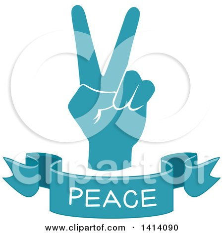 Clipart of a Blue Hand with a Peace Text Banner - Royalty Free Vector Illustration by BNP Design Studio