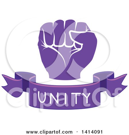 Clipart of a Purple Fisted Hand with a Unity Text Banner - Royalty Free Vector Illustration by BNP Design Studio