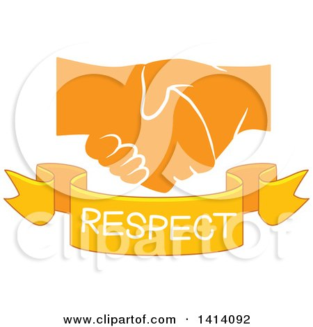 Clipart of Shaking Yellow Hands with a Respect Text Banner - Royalty Free Vector Illustration by BNP Design Studio