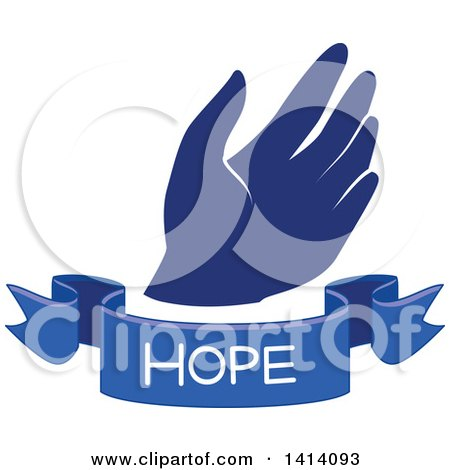 Clipart of a Blue Hand with a Hope Text Banner - Royalty Free Vector Illustration by BNP Design Studio