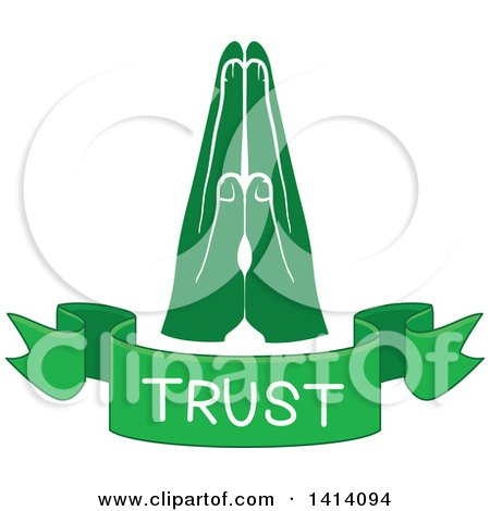 Clipart of Green Hands with a Trust Text Banner - Royalty Free Vector Illustration by BNP Design Studio