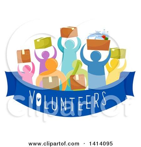 Clipart of a Crowd of Volunteers Carrying Boxes of Donated Goods - Royalty Free Vector Illustration by BNP Design Studio