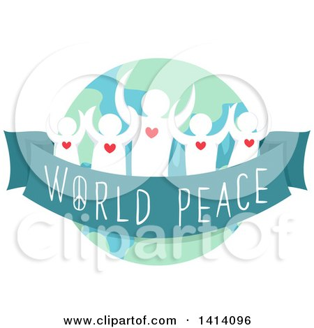 Clipart of a Crowd of People Tied by a Ribbon with World Peace Written on It - Royalty Free Vector Illustration by BNP Design Studio