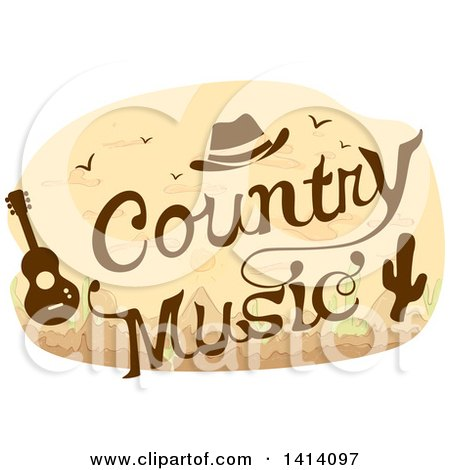 Clipart of a Country Music Concert Design with a Cowboy Hat, Guitar and Cactus - Royalty Free Vector Illustration by BNP Design Studio
