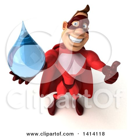 Clipart of a 3d Buff Red White Male Super Hero, on a White Background - Royalty Free Illustration by Julos