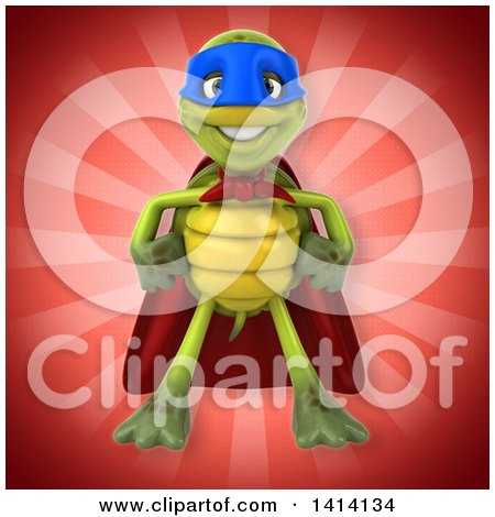 Clipart of a 3d Green Tortoise Super Hero - Royalty Free Illustration by Julos