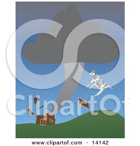 Cow and Pieces of a Red Barn Flying Through the Air During a Tornado Natural Hazard Clipart Illustration by Rasmussen Images
