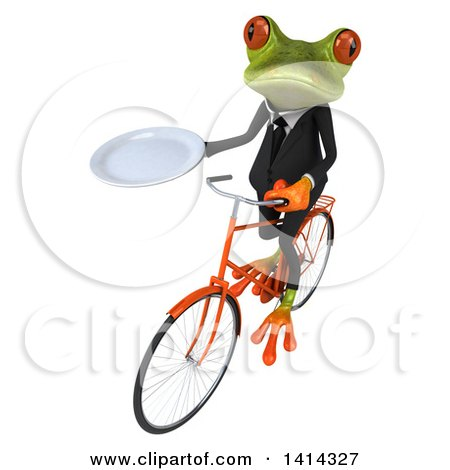 Clipart of a 3d Green Business Springer Frog Riding a Bicycle, on a White Background - Royalty Free Illustration by Julos