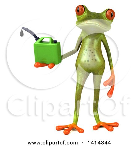 Clipart of a 3d Green Springer Frog, on a White Background - Royalty Free Illustration by Julos