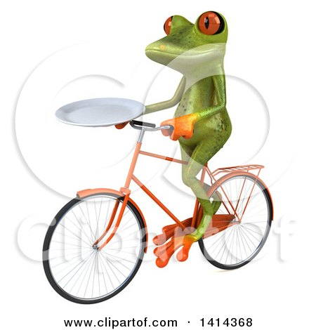 Clipart of a 3d Green Springer Frog Riding a Bicycle, on a White Background - Royalty Free Illustration by Julos