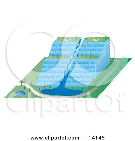 Unique Environmental Glass Skyscraper Building With a Waterfall and Tiers of Gardens Clipart Illustration by Rasmussen Images