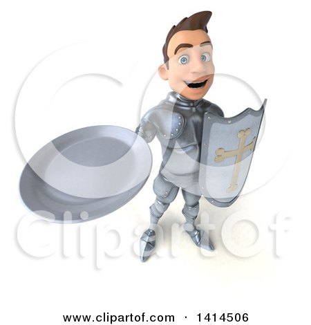 Clipart of a 3d Caucasian Male Armored Knight - Royalty Free Illustration by Julos