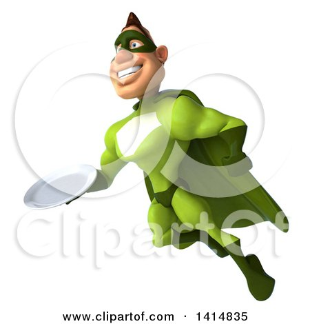 Clipart of a 3d Buff White Male Green Super Hero, on a White Background - Royalty Free Illustration by Julos