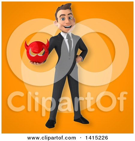 Clipart of a 3d Young White Business Man - Royalty Free Illustration by Julos