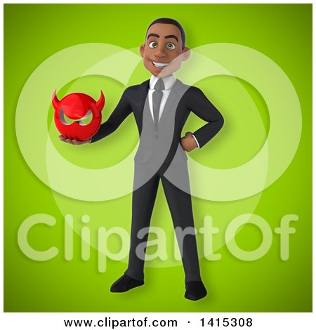 Clipart of a 3d Young Black Business Man - Royalty Free Illustration by Julos