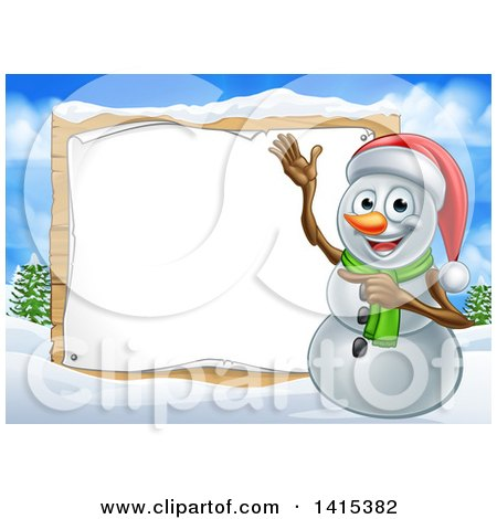 Clipart of a Happy Snowman Wearing a Christmas Santa Hat and Pointing to a Blank Sign in a Winter Landscape - Royalty Free Vector Illustration by AtStockIllustration