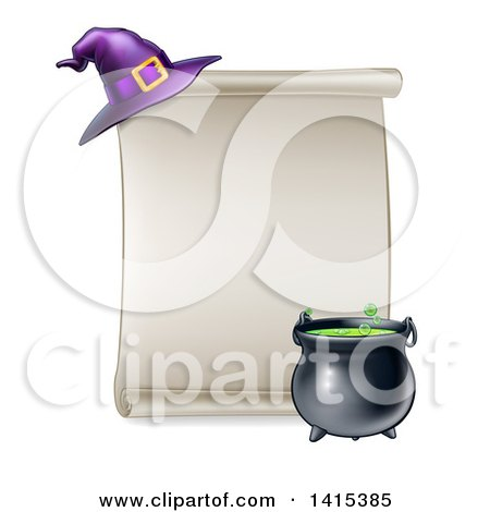 Clipart of a Blank Scroll Sign with a Boiling Cauldron and Purple Witch Hat - Royalty Free Vector Illustration by AtStockIllustration